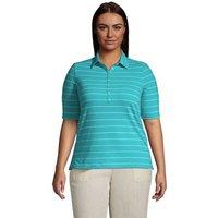 Linen/Cotton Polo Shirt, Women, Size: 28-30 Plus, Green, by Lands' End