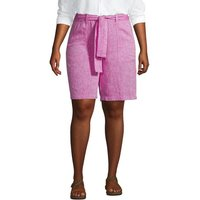 Pure Linen Pull-on Shorts, Women, Size: 20 Plus, Pink, by Lands' End