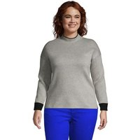 Polo Neck Jumper, Women, Size: 20-22 Plus, Grey, by Lands' End
