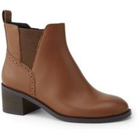 Block Heel Chelsea Boots, Women, Size: 6 Wide, Brown, Leather, by Lands' End