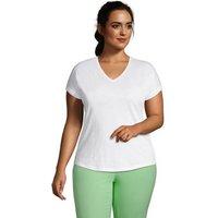 Short Sleeve Slub V Neck T-Shirt, Women, Size: 20-22 Plus, White, Cotton Modal, by Lands' End