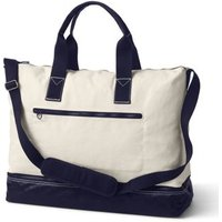 Canvas Weekender Duffle Bag, Women, Ivory, , by Lands' End