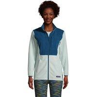Fleece Grid Jacket, Women, Size: 8 Petite, Green, Polyester, by Lands' End