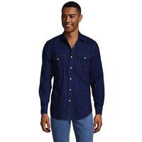 Western Shirt, Men, Size: 38-40 Regular, Blue, Cotton, by Lands' End