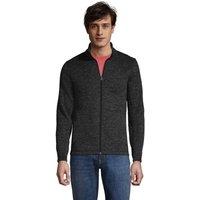 Sweater Fleece Jacket, Men, Size: 42-44 Regular, Black, Polyester, by Lands' End