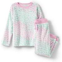 Long Sleeve Plush Pyjama Set, Kids, Size: 12-14 yrs Kids, Ivory, Polyester, by Lands' End