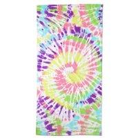 Swirl Tie Dye Beach Towel, Kids, Size: Kid, Pink, Cotton, by Lands'End, pink dahlia burst tie dye.