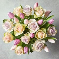 Roses & British Tulips - ready to arrange Pink