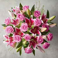 Large Pink Rose & Scented Lily Bouquet Pink