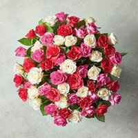 Large Mixed Sweetheart Roses Pink
