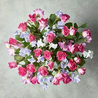 Medium Roses & Sweet Peas Bouquet Pink