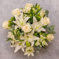 White Rose & Scented Lily Bouquet White
