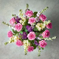 Roses & Scented British Stocks bouquet Pink