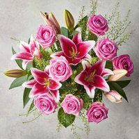 Pink Rose & Scented Lily Bouquet Pink