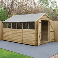 Forest Garden 12 x 8 ft Large Apex Overlap Pressure Treated Double Door Shed with Assembly