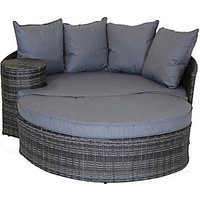 Charles Bentley Rattan Garden Day Bed with Foot Stool and Table - Grey