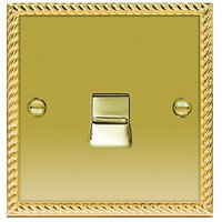 Wickes Single Raised Plate Master Telephone Socket - Georgian Brass