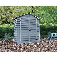 Palram 6 x 3ft Back to Wall Double Door Plastic Apex Shed with Skylight Roof