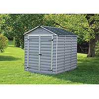 Palram 6 x 8ft Large Double Door Plastic Apex Shed with Skylight Roof