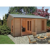 Shire Firestone 14 x 16ft 3 Room Double Door Log Cabin with Assembly