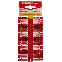 Fischer Red Plastic Wallplugs - 6mm Pack of 40.