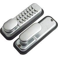 Yale P-DL02-SC Hold Open Push Button Lock - Satin Chrome.