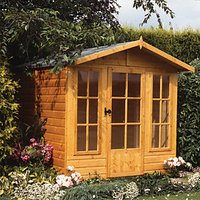 Shire 7 x 7 ft Chatsworth Traditional Apex Dip Treated Summerhouse with Overhang