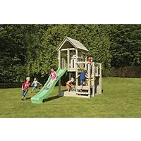 Shire 7 x 7 ft Childrens Wooden Penthouse Playhouse with Bridge  Slide and Climbing Wall