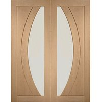 XL Joinery Salerno Glazed Oak Patterned Internal Door Pair - 1981mm x 584mm