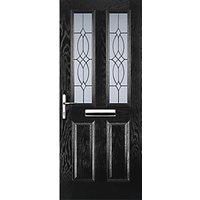 Euramax 2 Panel 2 Square Black Right Hand Composite Door 880mm x 2100mm