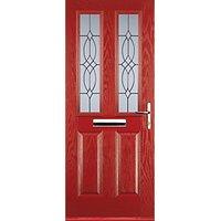 Euramax 2 Panel 2 Square Red Left Hand Composite Door 920mm x 2100mm