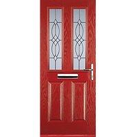 Euramax 2 Panel 2 Square Red Left Hand Composite Door 880mm x 2100mm