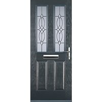 Euramax 2 Panel 2 Square Grey Left Hand Composite Door 920mm x 2100mm