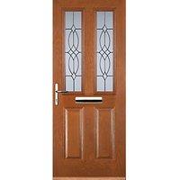 Euramax 2 Panel 2 Square Oak Right Hand Composite Door 920mm x 2100mm