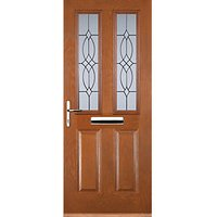 Euramax 2 Panel 2 Square Oak Right Hand Composite Door 880mm x 2100mm