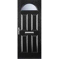 Euramax 4 Panel 1 Arch Black Right Hand Composite Door 920mm x 2100mm