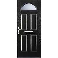Euramax 4 Panel 1 Arch Black Right Hand Composite Door 840mm x 2100mm