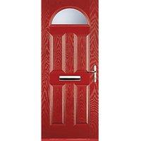 Euramax 4 Panel 1 Arch Red Left Hand Composite Door 920mm x 2100mm
