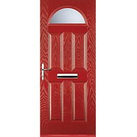 Euramax 4 Panel 1 Arch Red Right Hand Composite Door 880mm x 2100mm
