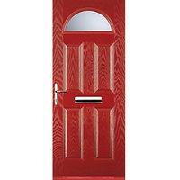 Euramax 4 Panel 1 Arch Red Right Hand Composite Door 840mm x 2100mm