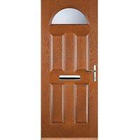Euramax 4 Panel 1 Arch Oak Left Hand Composite Door 920mm x 2100mm