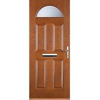 Euramax 4 Panel 1 Arch Oak Left Hand Composite Door 840mm x 2100mm