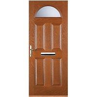 Euramax 4 Panel 1 Arch Oak Right Hand Composite Door 920mm x 2100mm