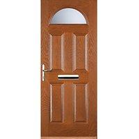 Euramax 4 Panel 1 Arch Oak Right Hand Composite Door 840mm x 2100mm