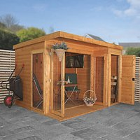 Mercia 10 x 8ft Large Garden Office including Side Shed and Bi-Fold Doors