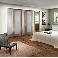 Jeld-Wen Oxford Fully Glazed Oak 1 Lite Internal Bi-Fold 5 Door Set - 2047mm x 3158mm
