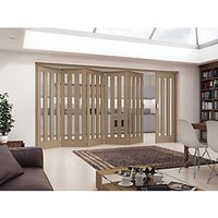 Jeld-Wen York Fully Glazed Oak 3 Lite Internal Bi-Fold 6 Door Set - 2047mm x 3771mm