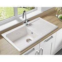 Wickes Contemporary 1 Bowl Ceramic Kitchen Sink - White at Wickes DIY