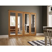 Wickes Newbury Fully Glazed Oak 1 Lite Internal Bi-Fold 4 Door Set - 2007mm X 2690mm