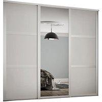 Spacepro 610mm White Shaker frame 3 panel and 1x Single panel Mirror Sliding Wardrobe Door Kit